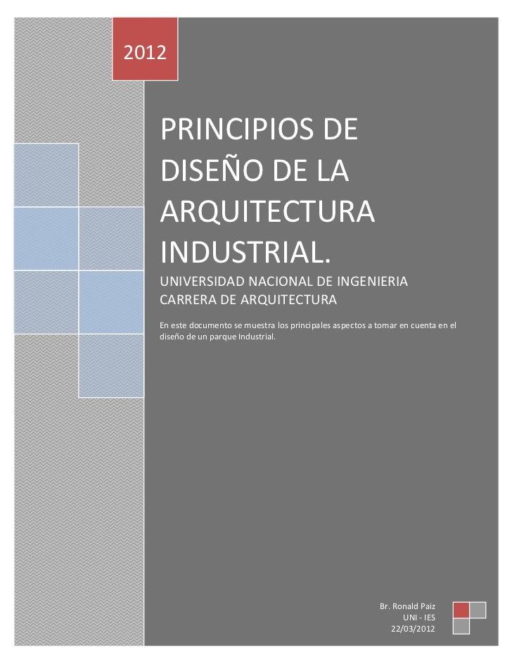 Principios de dise o de la arquitectura industrial for Ejemplo de programa de necesidades arquitectura