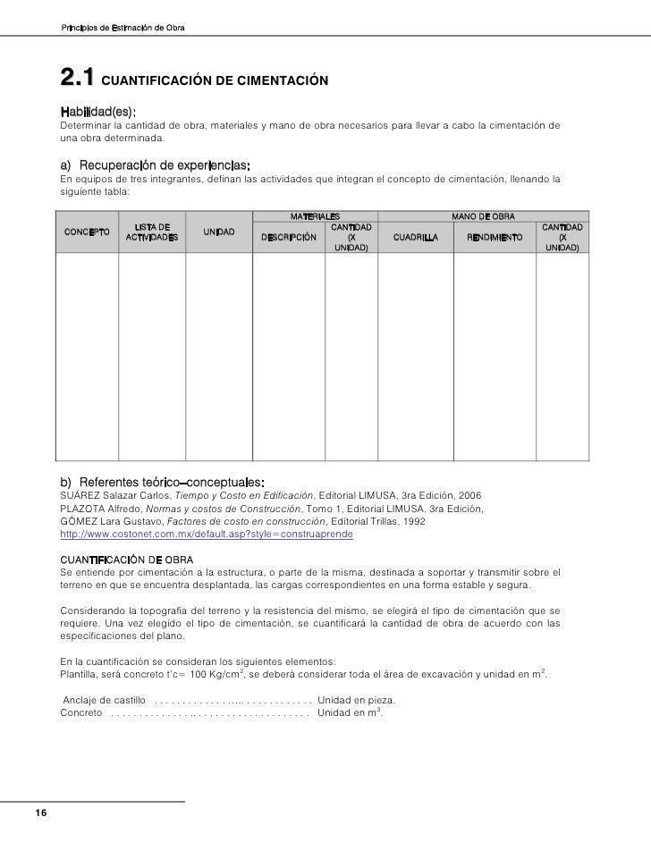 CimentacionesSe considera la sección de zapatas corridas aisladas, así como contratrabes; debe tenerse en cuenta laresiste...