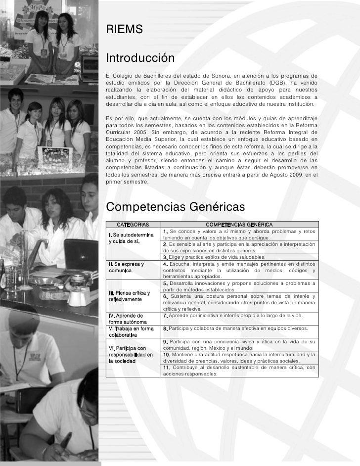 RIEMSIntroducciónEl Colegio de Bachilleres del estado de Sonora, en atención a los programas deestudio emitidos por la Dir...