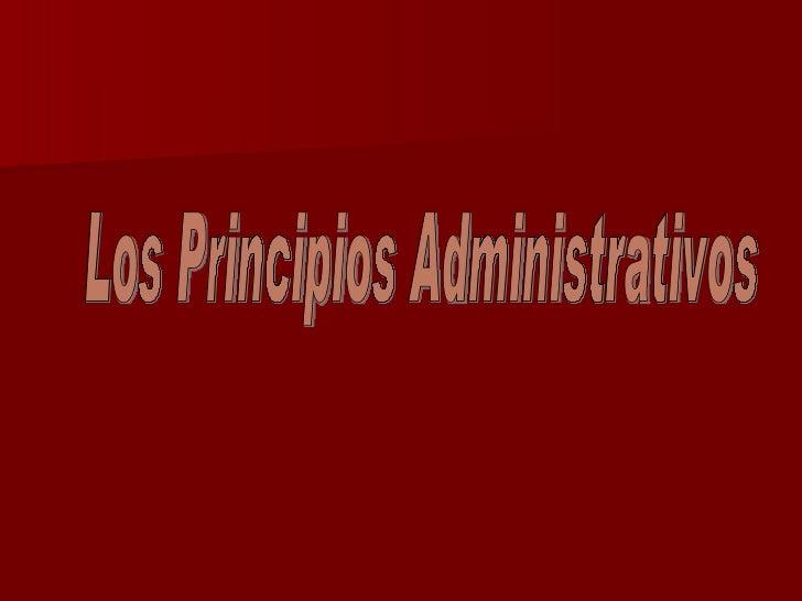 Los Principios Administrativos