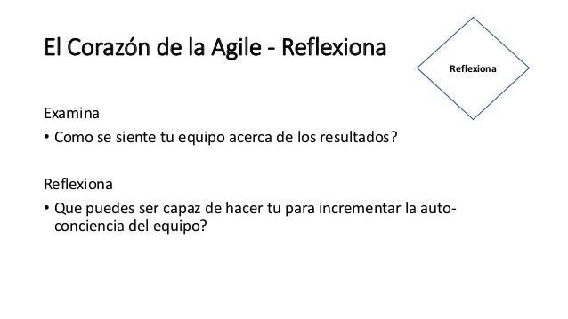 El Corazón de la Agile - Reflexiona Examina • Como se siente tu equipo acerca de los resultados? Reflexiona • Que puedes s...