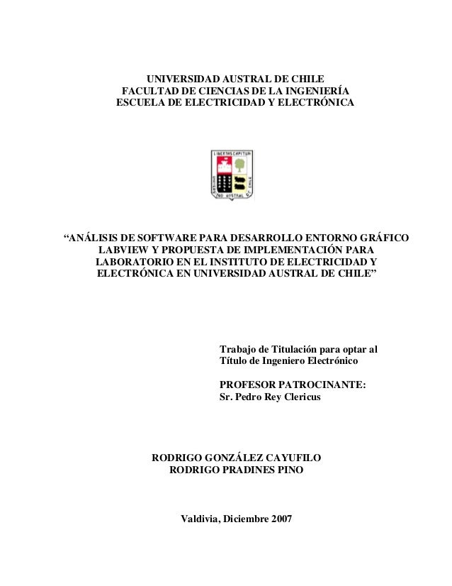 """""""ANÁLISIS DE SOFTWARE PARA DESARROLLO ENTORNO GRÁFICO LABVIEW Y PROPUESTA DE IMPLEMENTACIÓN PARA LABORATORIO EN EL INSTITU..."""