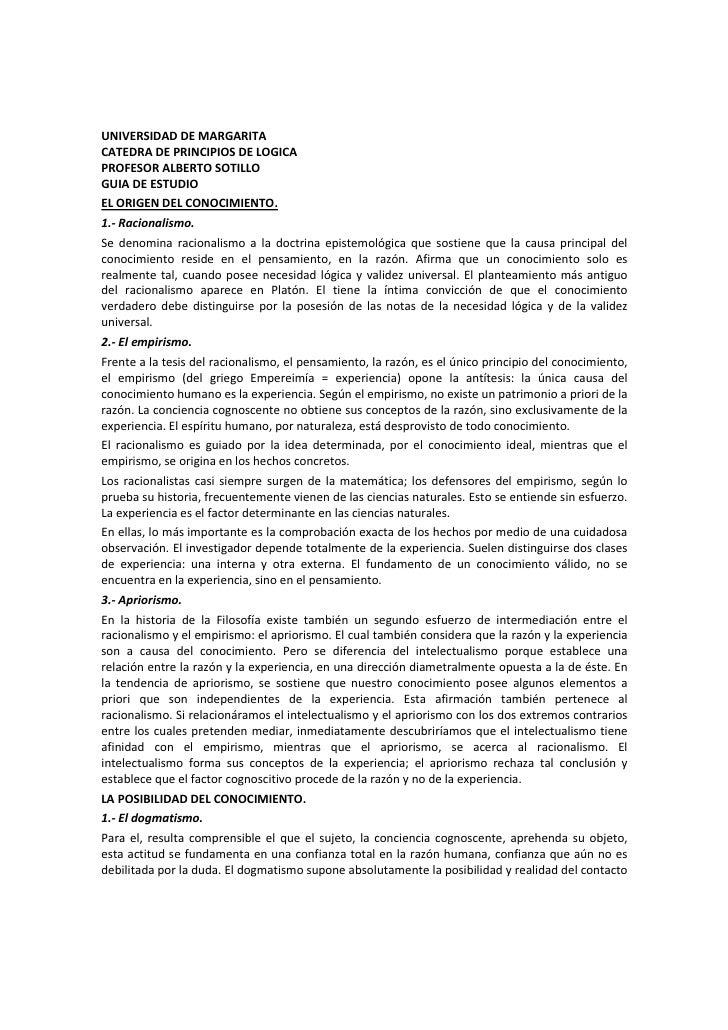 UNIVERSIDAD DE MARGARITACATEDRA DE PRINCIPIOS DE LOGICAPROFESOR ALBERTO SOTILLOGUIA DE ESTUDIOEL ORIGEN DEL CONOCIMIENTO.1...
