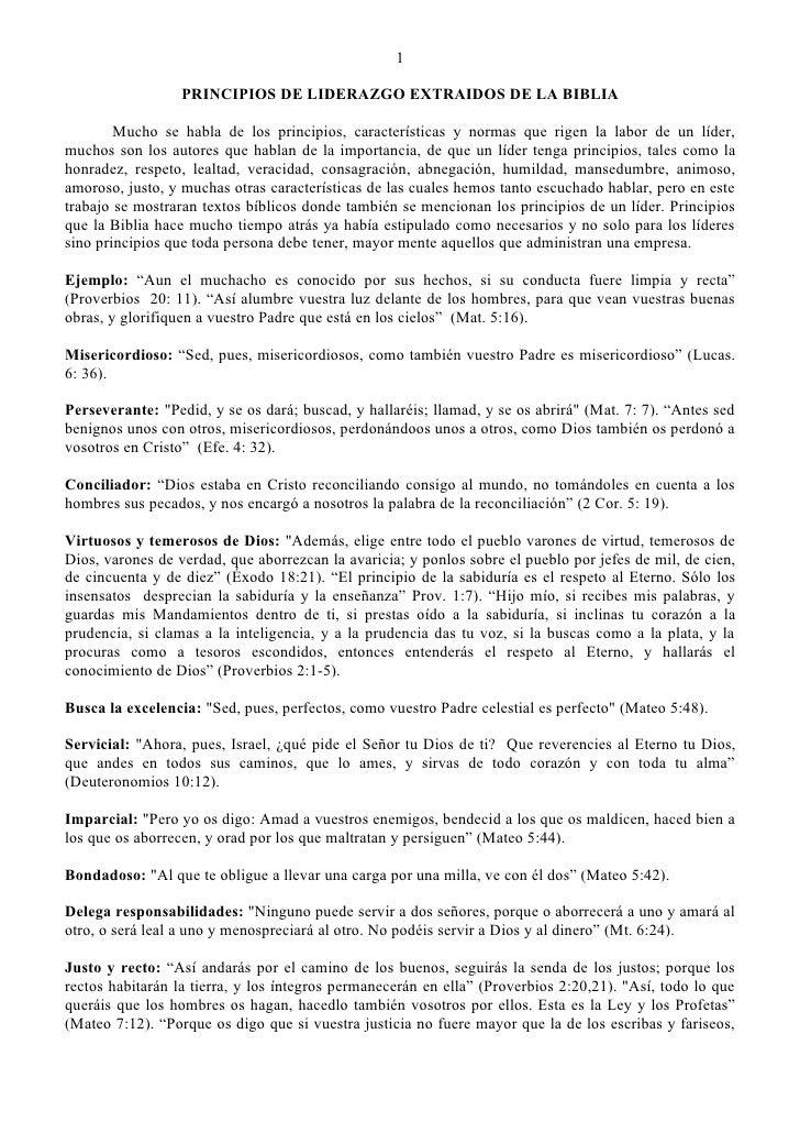 1                    PRINCIPIOS DE LIDERAZGO EXTRAIDOS DE LA BIBLIA          Mucho se habla de los principios, característ...