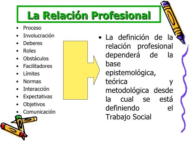 La Relación Profesional <ul><li>Proceso </li></ul><ul><li>Involucración </li></ul><ul><li>Deberes </li></ul><ul><li>Roles ...
