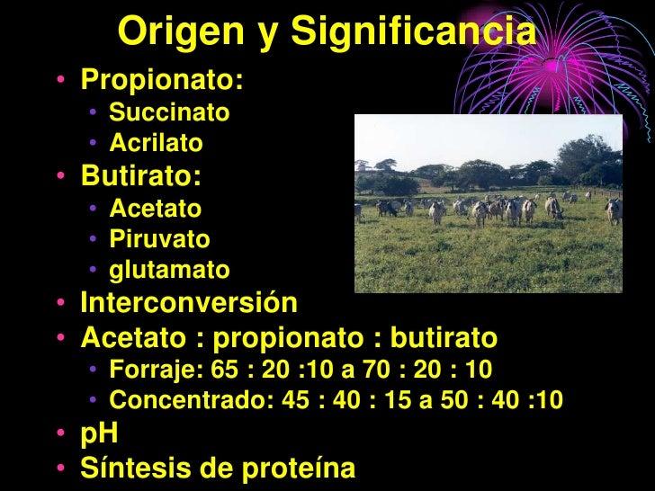 Origen y Significancia • Propionato:   • Succinato   • Acrilato • Butirato:   • Acetato   • Piruvato   • glutamato • Inter...