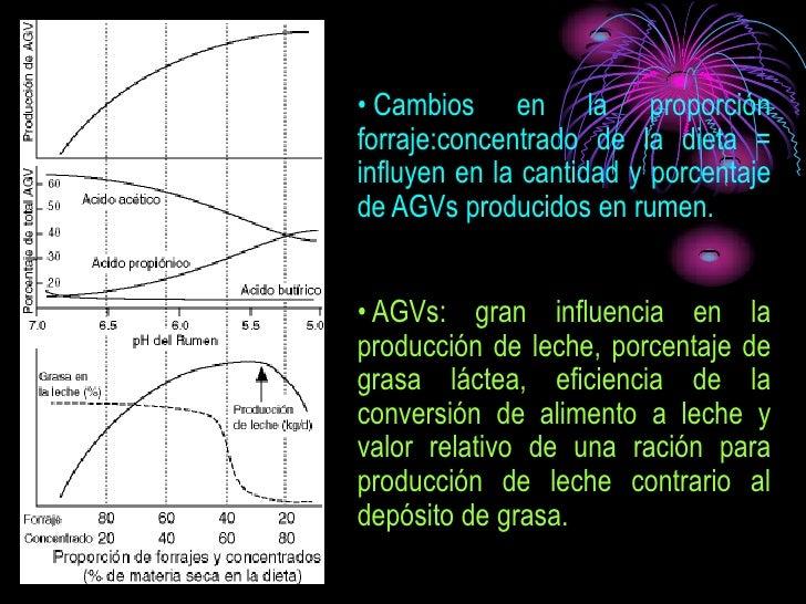 • Cambios en la proporción forraje:concentrado de la dieta = influyen en la cantidad y porcentaje de AGVs producidos en ru...