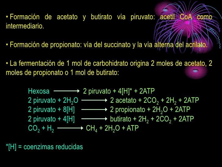• Formación de acetato y butirato vía piruvato: acetil CoA como intermediario.  • Formación de propionato: vía del succina...