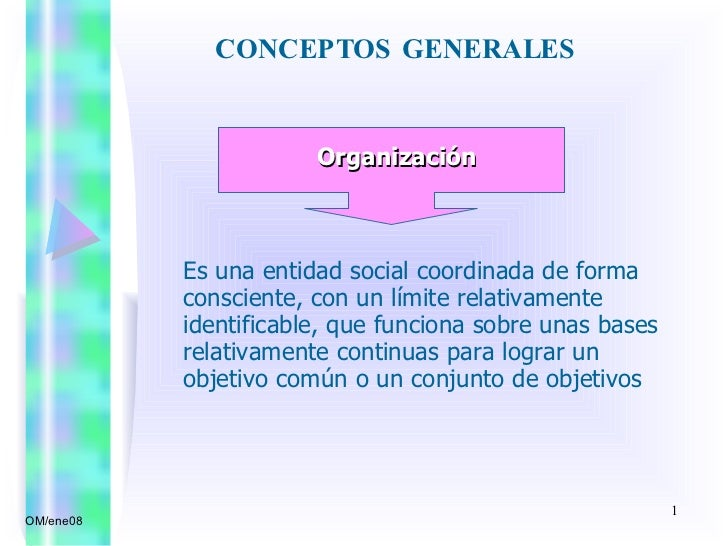 CONCEPTOS GENERALES  OM/ene08 Organización Es una entidad social coordinada de forma consciente, con un límite relativamen...