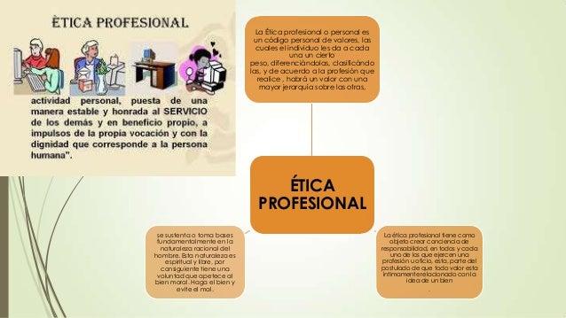 La Ética profesional o personal es un código personal de valores, las cuales el individuo les da a cada una un cierto peso...