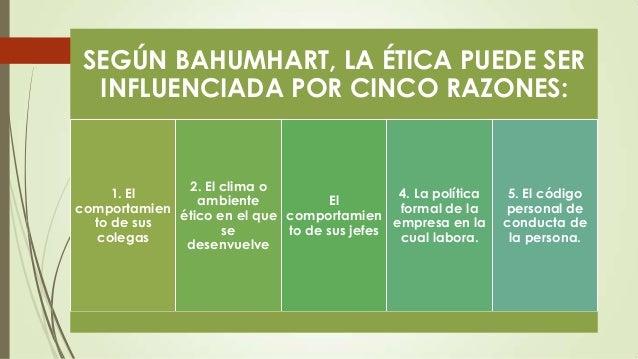 SEGÚN BAHUMHART, LA ÉTICA PUEDE SER INFLUENCIADA POR CINCO RAZONES:  2. El clima o 1. El 4. La política El ambiente compor...
