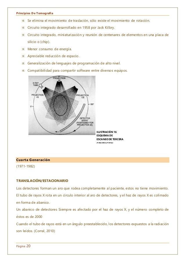 Principios De Tomografía Página 20  Se elimina el movimiento de traslación, sólo existe el movimiento de rotación.  Circ...