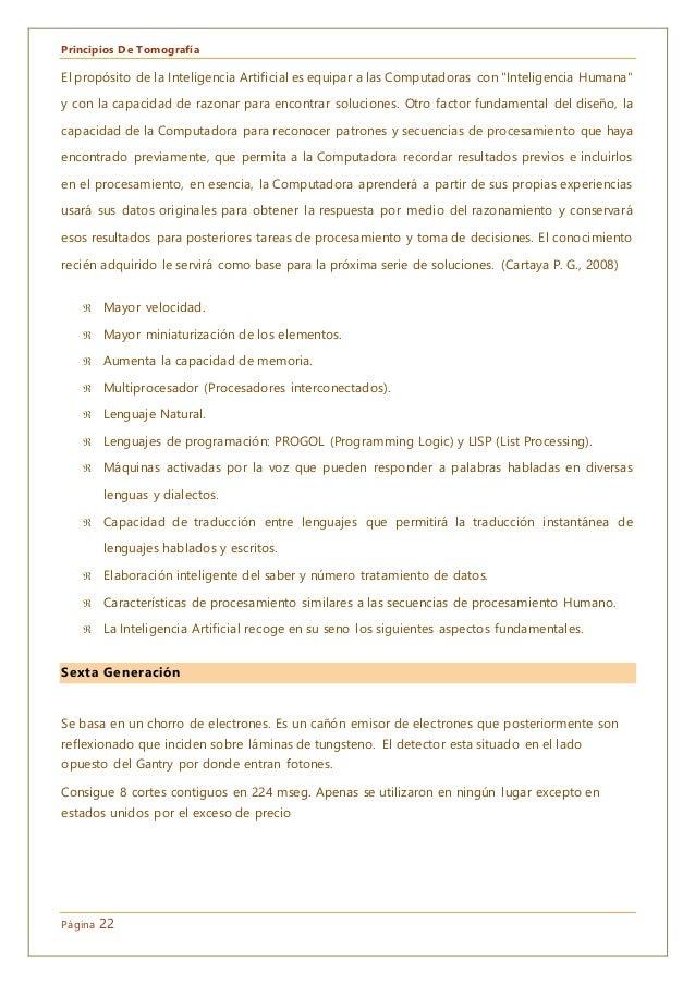 """Principios De Tomografía Página 22 El propósito de la Inteligencia Artificial es equipar a las Computadoras con """"Inteligen..."""