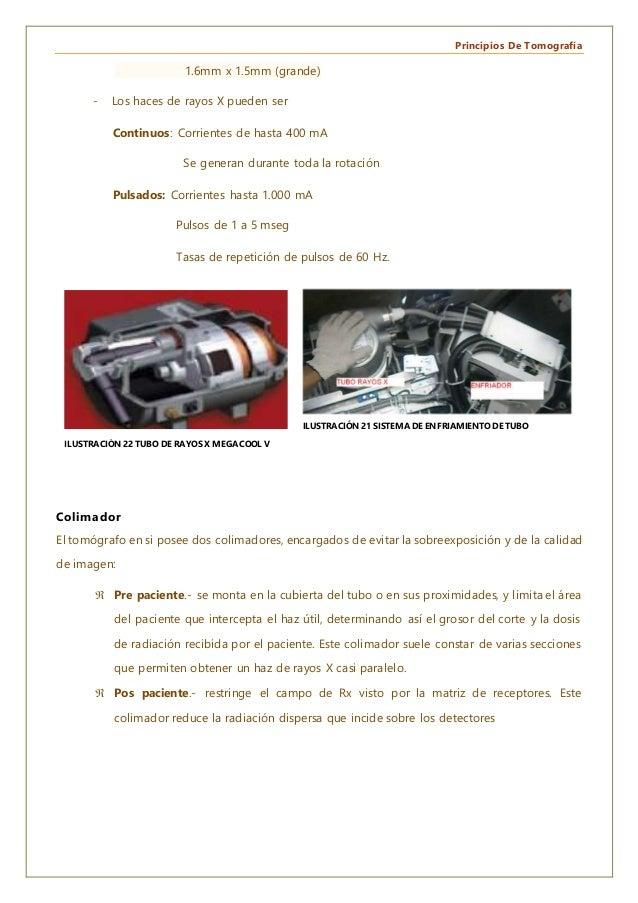 Principios De Tomografía 1.6mm x 1.5mm (grande) - Los haces de rayos X pueden ser Continuos: Corrientes de hasta 400 mA Se...