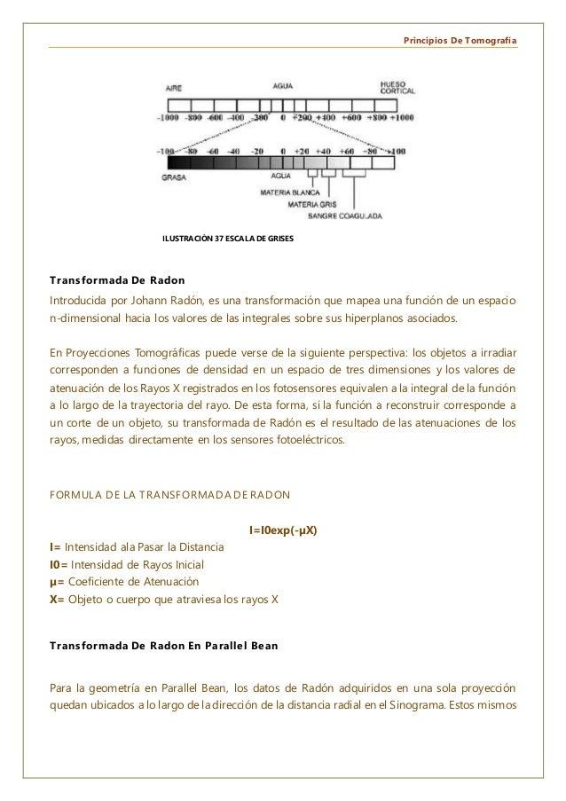 Principios De Tomografía Transformada De Radon Introducida por Johann Radón, es una transformación que mapea una función d...