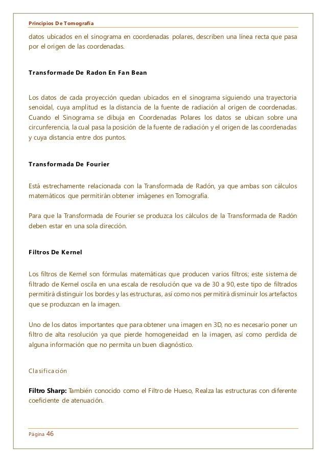 Principios De Tomografía Página 46 datos ubicados en el sinograma en coordenadas polares, describen una línea recta que pa...