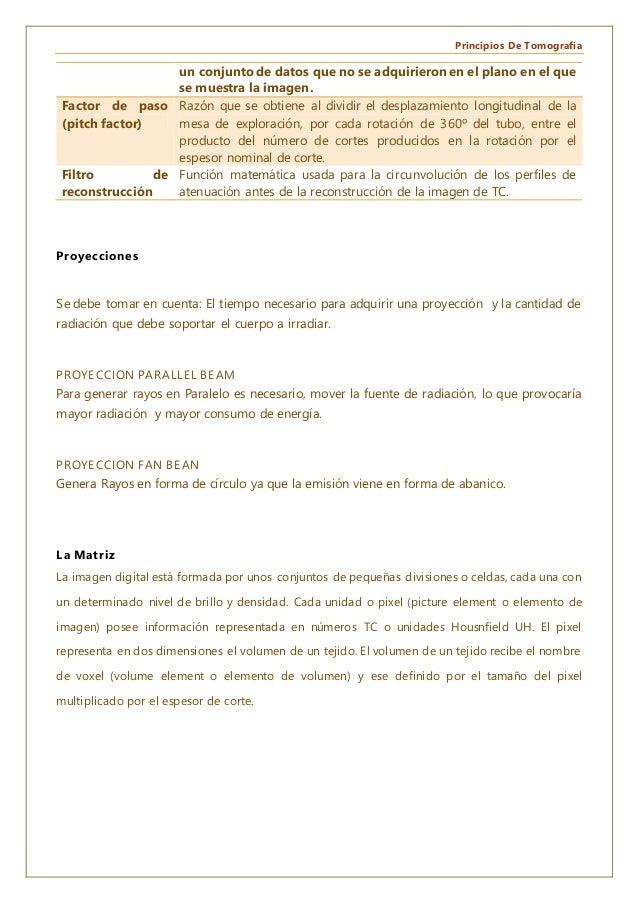 Principios De Tomografía un conjunto de datos que no se adquirieron en el plano en el que se muestra la imagen. Factor de ...