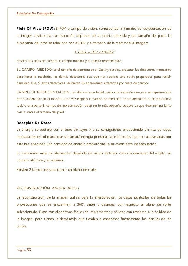 Principios De Tomografía Página 56 Field Of View (FOV): El FOV o campo de visión, corresponde al tamaño de representación ...