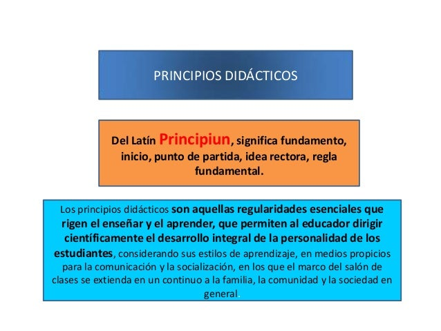 PRINCIPIOS DIDÁCTICOS  Del Latín Principiun, significa fundamento, inicio, punto de partida, idea rectora, regla fundament...