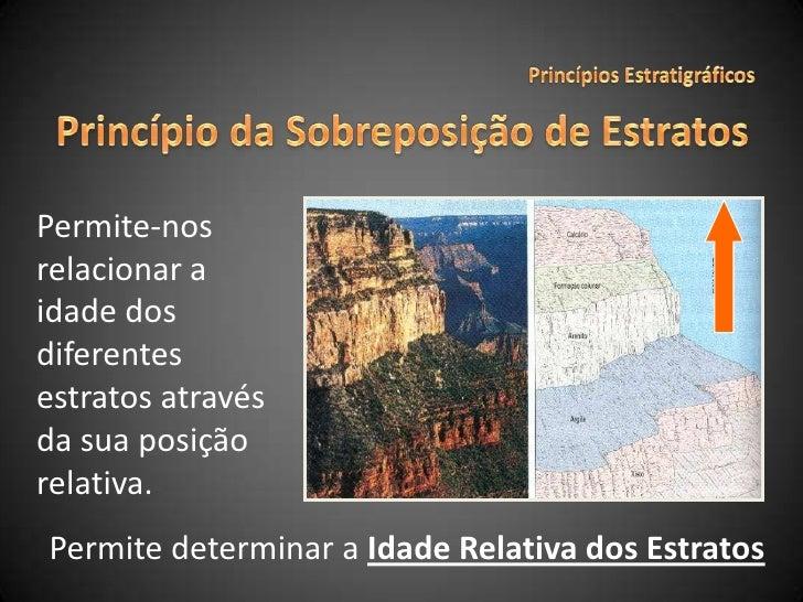 Princípios Estratigráficos<br />Princípio da Sobreposição de Estratos<br />Permite-nos relacionar a idade dos diferentes e...