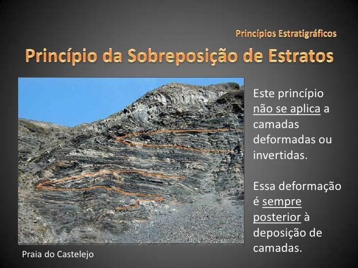 Princípios Estratigráficos<br />Princípio da Sobreposição de Estratos<br />Este princípio não se aplica a camadas deformad...