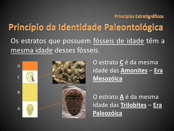 Princípios Estratigráficos<br />Princípio da Identidade Paleontológica<br />Os estratos que possuem fósseis de idadetêm a ...