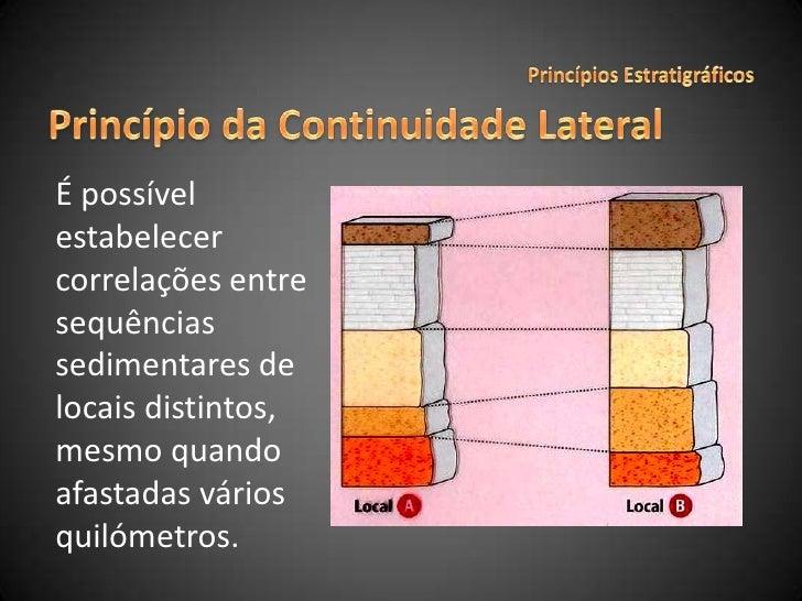 Princípios Estratigráficos<br />Princípio da Continuidade Lateral<br />É possível estabelecer correlações entre sequências...