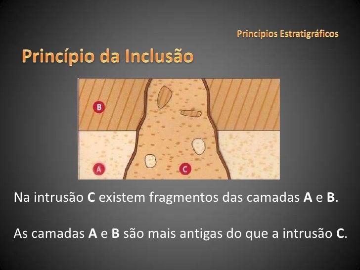 Princípios Estratigráficos<br />Princípio da Inclusão<br />Na intrusão C existem fragmentos das camadas A e B.<br />As cam...