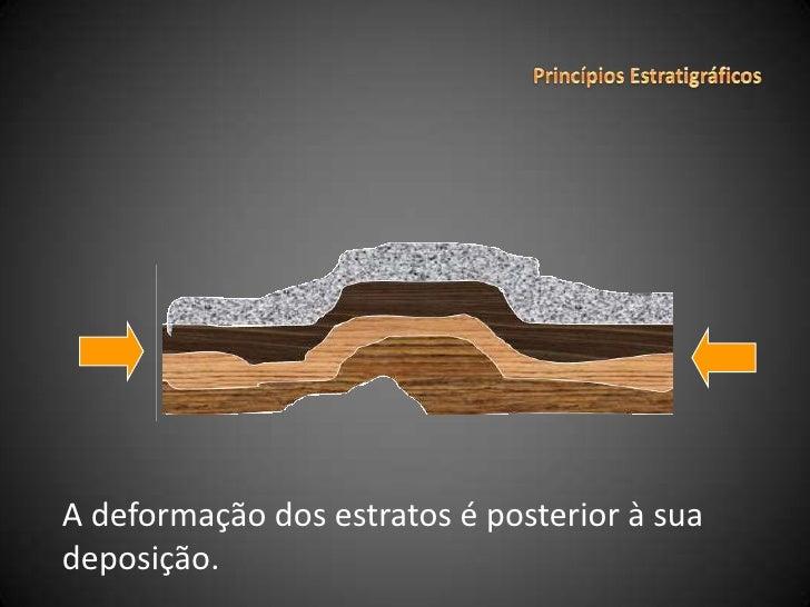 Princípios Estratigráficos<br />A deformação dos estratos é posterior à sua deposição.<br />