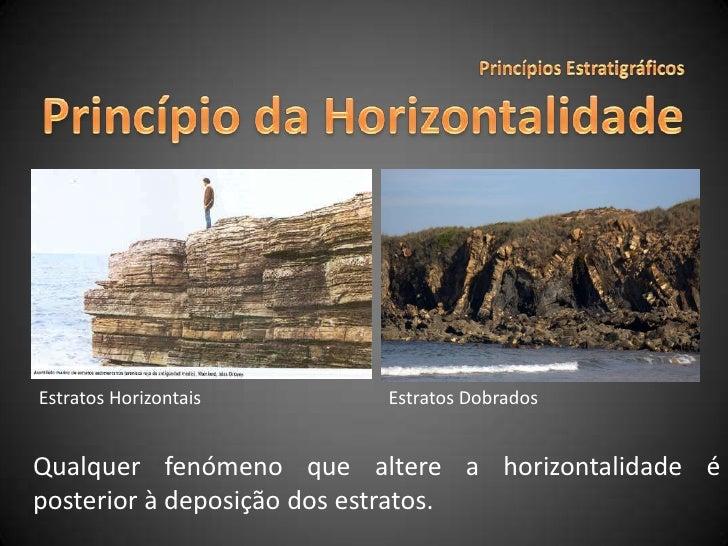 Princípios Estratigráficos<br />Princípio da Horizontalidade<br />Estratos Horizontais<br />Estratos Dobrados<br />Qualque...