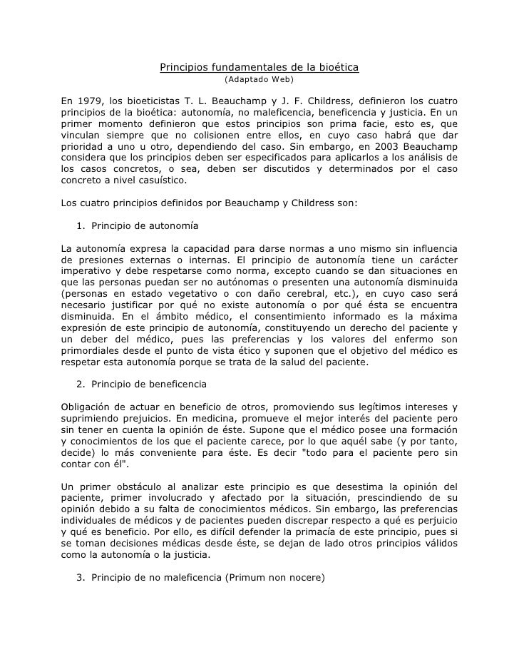 Principios fundamentales de la bioética                                    (Adaptado Web)En 1979, los bioeticistas T. L. B...