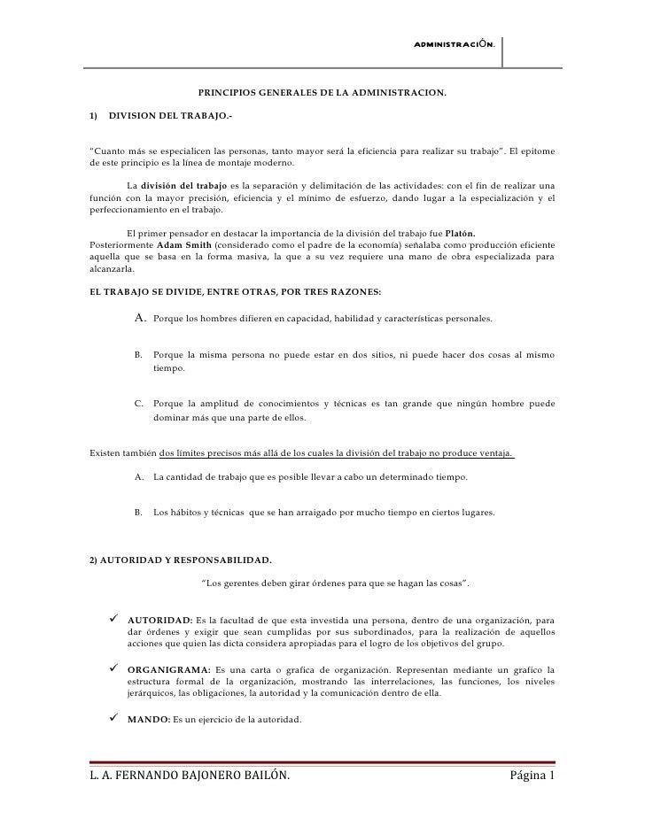 """ADMINISTRACIÓN.                          PRINCIPIOS GENERALES DE LA ADMINISTRACION.1)   DIVISION DEL TRABAJO.-""""Cuanto más ..."""
