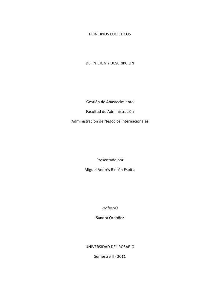 PRINCIPIOS LOGISTICOS       DEFINICION Y DESCRIPCION        Gestión de Abastecimiento       Facultad de AdministraciónAdmi...