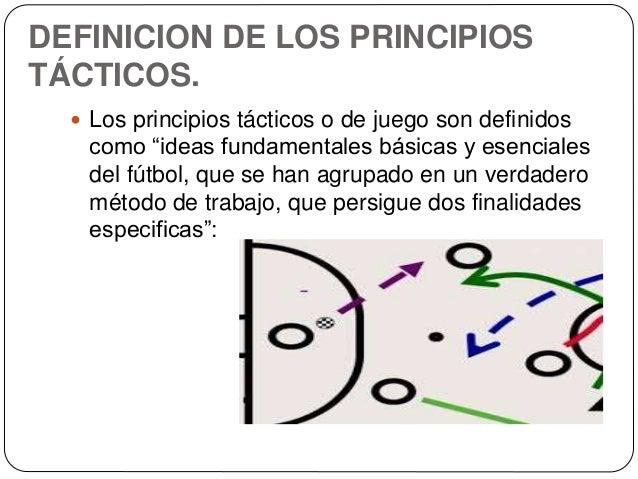 """DEFINICION DE LOS PRINCIPIOS TÁCTICOS.  Los principios tácticos o de juego son definidos como """"ideas fundamentales básica..."""
