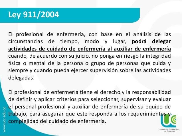 Ley 911/2004  El profesional de enfermería, con base en el análisis de las  circunstancias de tiempo, modo y lugar, podrá ...