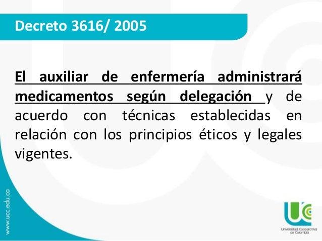 Decreto 3616/ 2005  El auxiliar de enfermería administrará  medicamentos según delegación y de  acuerdo con técnicas estab...