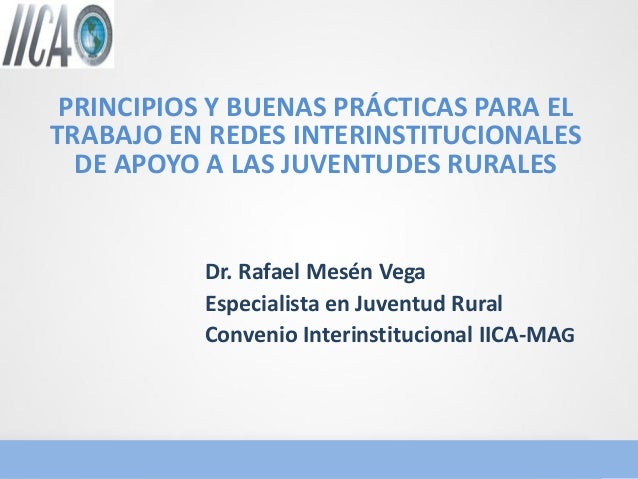 PRINCIPIOS Y BUENAS PRÁCTICAS PARA EL TRABAJO EN REDES INTERINSTITUCIONALES DE APOYO A LAS JUVENTUDES RURALES  Dr. Rafael ...