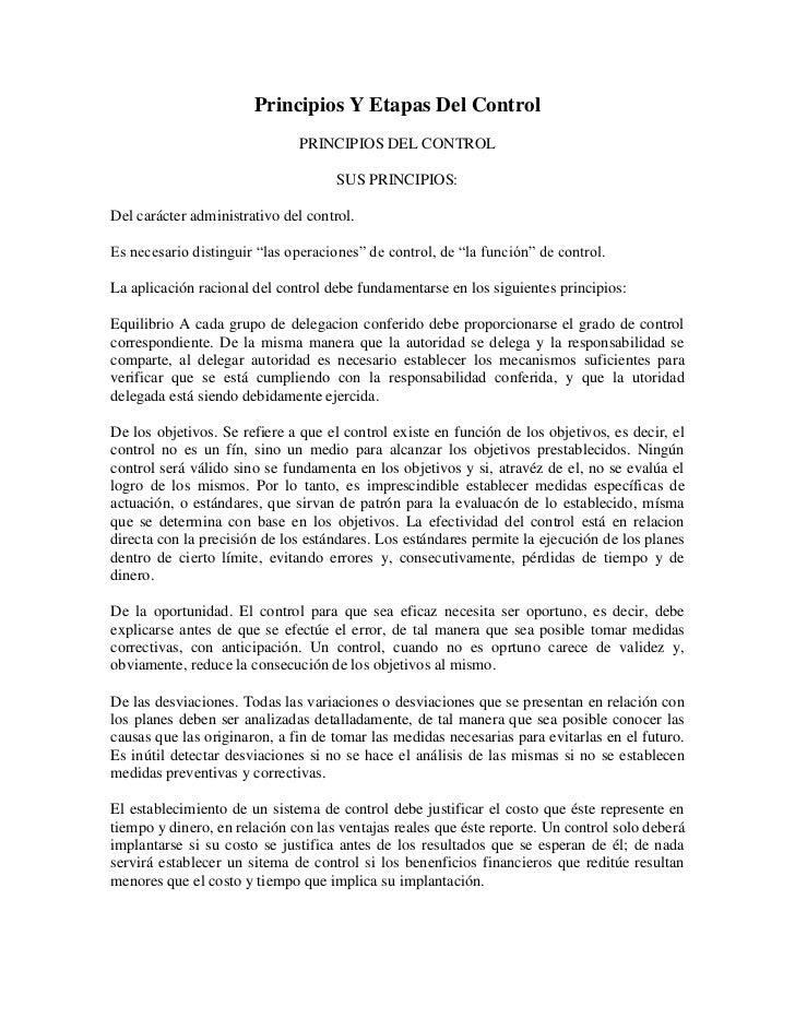 Principios Y Etapas Del Control                              PRINCIPIOS DEL CONTROL                                     SU...