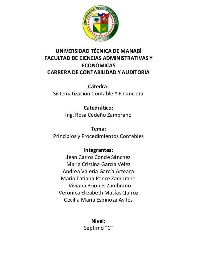 UNIVERSIDAD TÉCNICA DE MANABÍ  FACULTAD DE CIENCIAS ADMINISTRATIVAS Y  ECONÓMICAS  CARRERA DE CONTABILIDAD Y AUDITORIA  Cá...