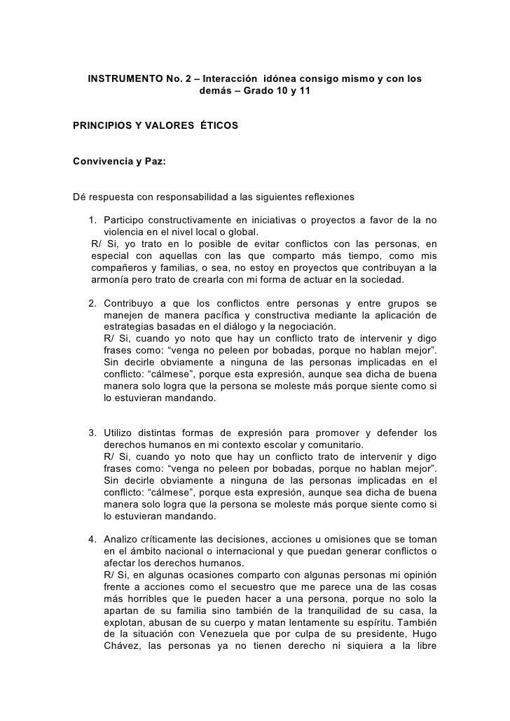 INSTRUMENTO No. 2 – Interacción idónea consigo mismo y con los                       demás – Grado 10 y 11   PRINCIPIOS Y ...