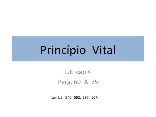 Princípio VitalL.E cap 4Perg. 60 A 75Ler: L.E. 540, 592, 597, 607.