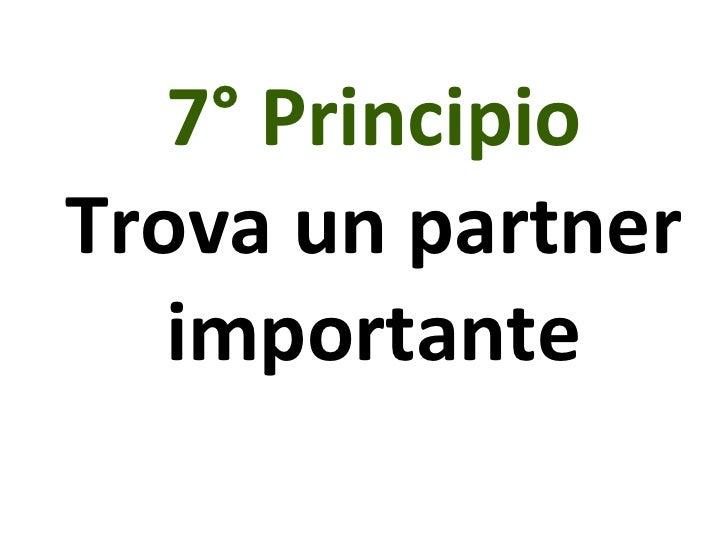 7° Principio Trova un partner importante