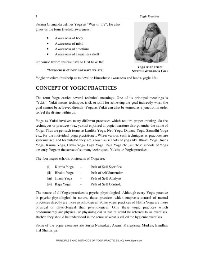 Notes for Principles and Methods of Yoga Practices