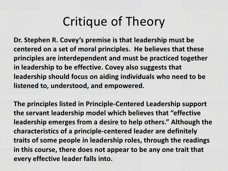 principle centered leadership covey Principlecentered leadership written by stephen r covey presented by douglas karalis chapter 1 characteristics of principleprinciplecentered leaders.