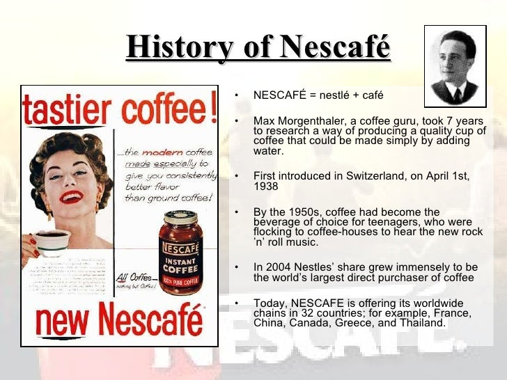 marketing and nescafe Watch video nestle sa, the world's biggest food company, reported first-quarter sales that beat analysts' estimates as nescafe and nespresso were boosted by marketing to ward off competitors in coffee.