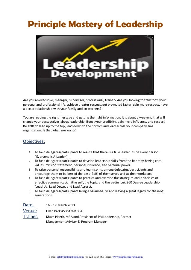 Principle Mastery of LeadershipAre you an executive, manager, supervisor, professional, trainer? Are you looking to transf...