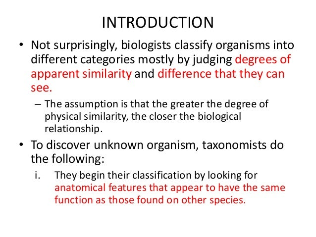 classification of living organisms into categories based on evolutionary and structural relationship Principles of classification organisms into different categories mostly by of living things lumps organisms together based on.