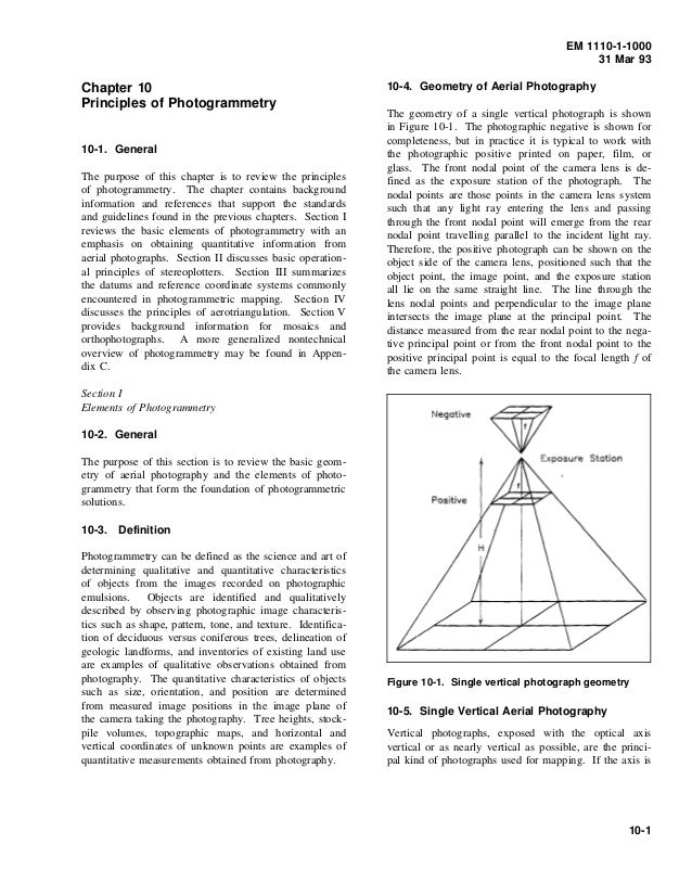 EM 1110-1-1000 31 Mar 93 Chapter 10 Principles of Photogrammetry 10-1. General The purpose of this chapter is to review th...