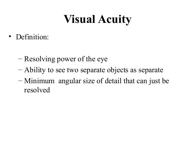 Principle of visual acuity charts class