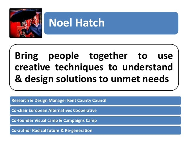 Noel Hatch Bring people together to use creative techniques to understand & design solutions to unmet needs Research & Des...